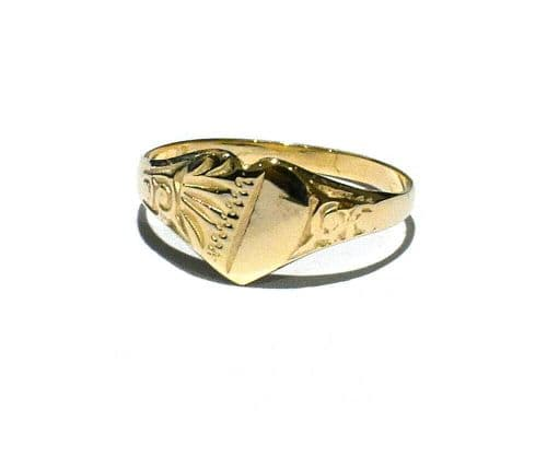 Childrens Gold Heart Signet Ring Solid 9ct Yellow Gold Size G-K Handmade